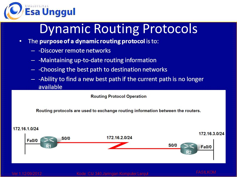 Ver 1,12/09/2012Kode :CIJ 340,Jaringan Komputer Lanjut FASILKOM Routing Protocols Metrics Metrics used in IP routing protocols – -Bandwidth – -Cost – -Delay – -Hop count – -Load – -Reliability