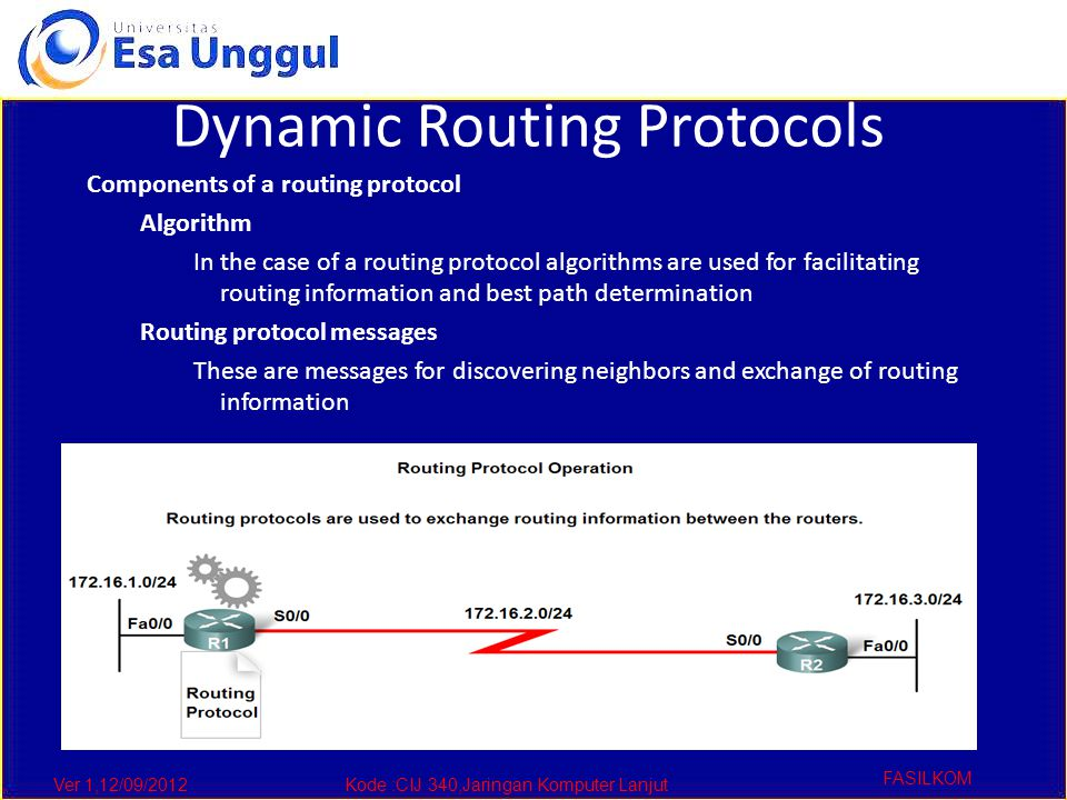 Ver 1,12/09/2012Kode :CIJ 340,Jaringan Komputer Lanjut FASILKOM Dynamic Routing Protocols Components of a routing protocol Algorithm In the case of a routing protocol algorithms are used for facilitating routing information and best path determination Routing protocol messages These are messages for discovering neighbors and exchange of routing information