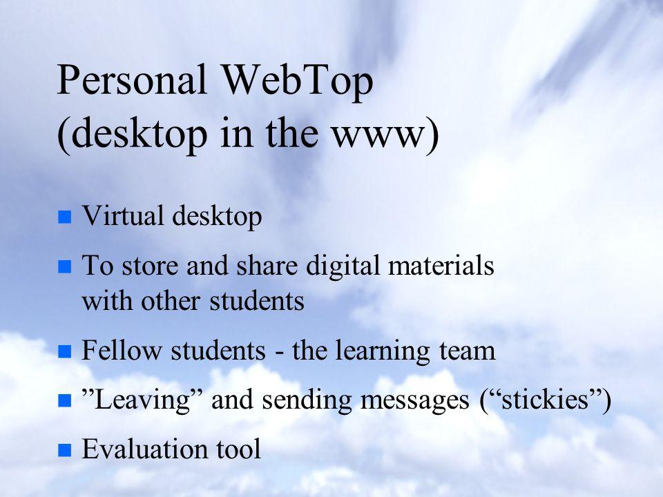 FLE-Tools prototype: n n Personal WebTop (desktop in the www) n n Knowledge building (conferencing) n n Jam Session -module n n Library n n People n n Administration