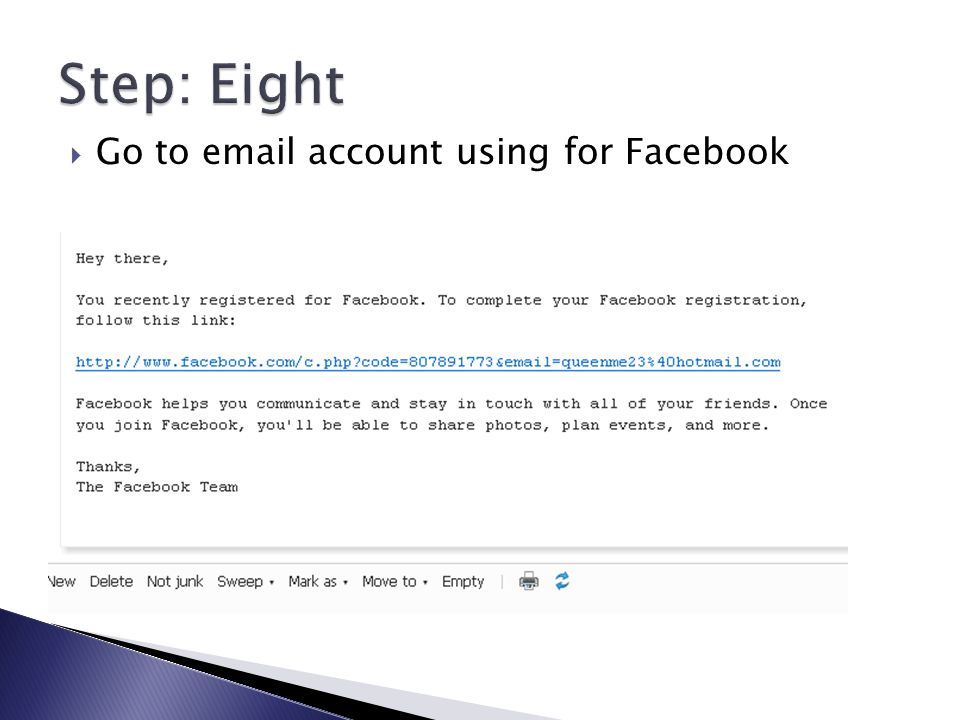  Go to email account using for Facebook