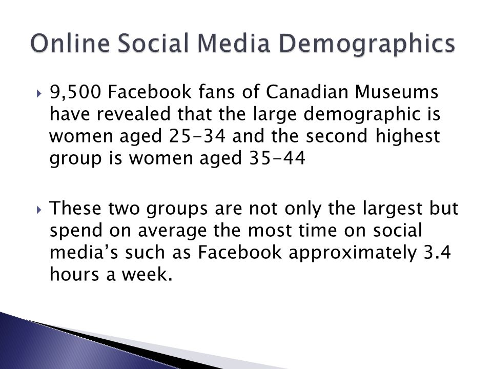  9,500 Facebook fans of Canadian Museums have revealed that the large demographic is women aged 25-34 and the second highest group is women aged 35-44  These two groups are not only the largest but spend on average the most time on social media's such as Facebook approximately 3.4 hours a week.