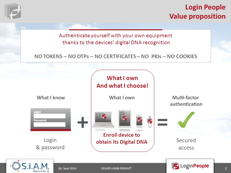 2014© LOGIN PEOPLE®Ed. Sept 2014 2 Login People Value proposition What I own And what I choose! Enroll device to obtain its Digital DNA Authenticate y