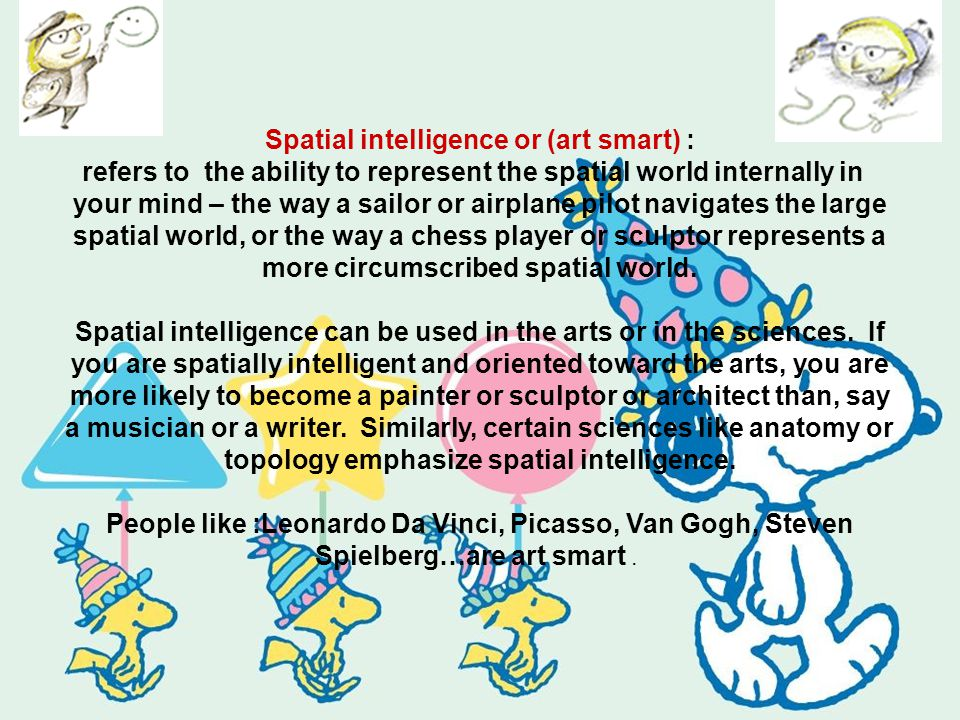 Spatial intelligence or (art smart) : refers to the ability to represent the spatial world internally in your mind – the way a sailor or airplane pilot navigates the large spatial world, or the way a chess player or sculptor represents a more circumscribed spatial world.