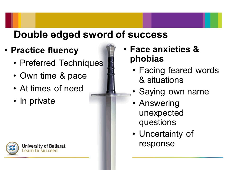 Double edged sword of success Face anxieties & phobias Facing feared words & situations Saying own name Answering unexpected questions Uncertainty of