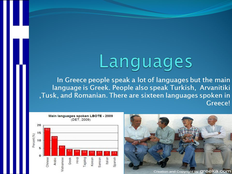 In Greece people speak a lot of languages but the main language is Greek. People also speak Turkish, Arvanitiki,Tusk, and Romanian. There are sixteen