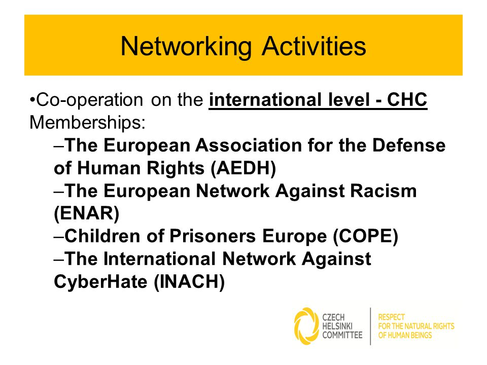 Networking Activities Co-operation on the international level - CHC Memberships: –The European Association for the Defense of Human Rights (AEDH) –The