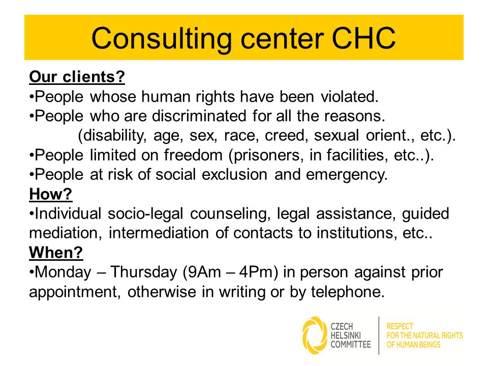 Consulting center CHC Our clients. People whose human rights have been violated.