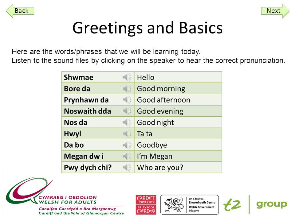 Greetings and Basics Here are the words/phrases that we will be learning today.