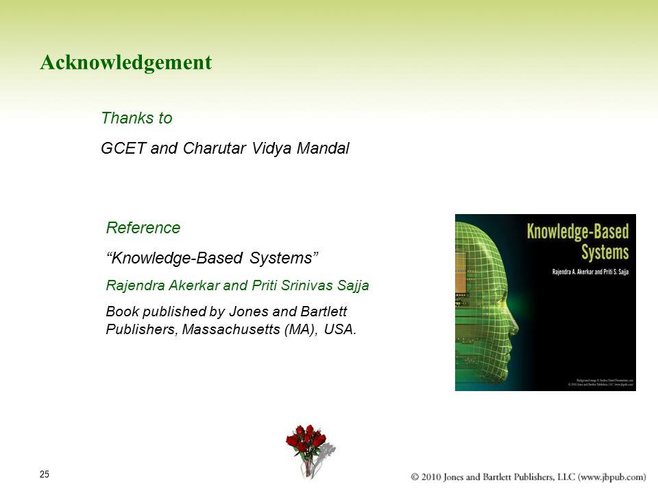 25 Acknowledgement Thanks to GCET and Charutar Vidya Mandal Reference Knowledge-Based Systems Rajendra Akerkar and Priti Srinivas Sajja Book published by Jones and Bartlett Publishers, Massachusetts (MA), USA.