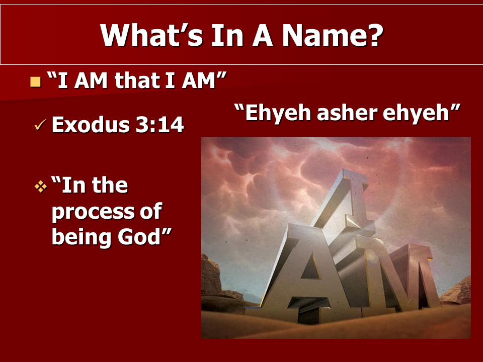 """I AM that I AM"" ""I AM that I AM"" Exodus 3:14 Exodus 3:14 What's In A Name? ""Ehyeh asher ehyeh""  ""In the process of being God"""