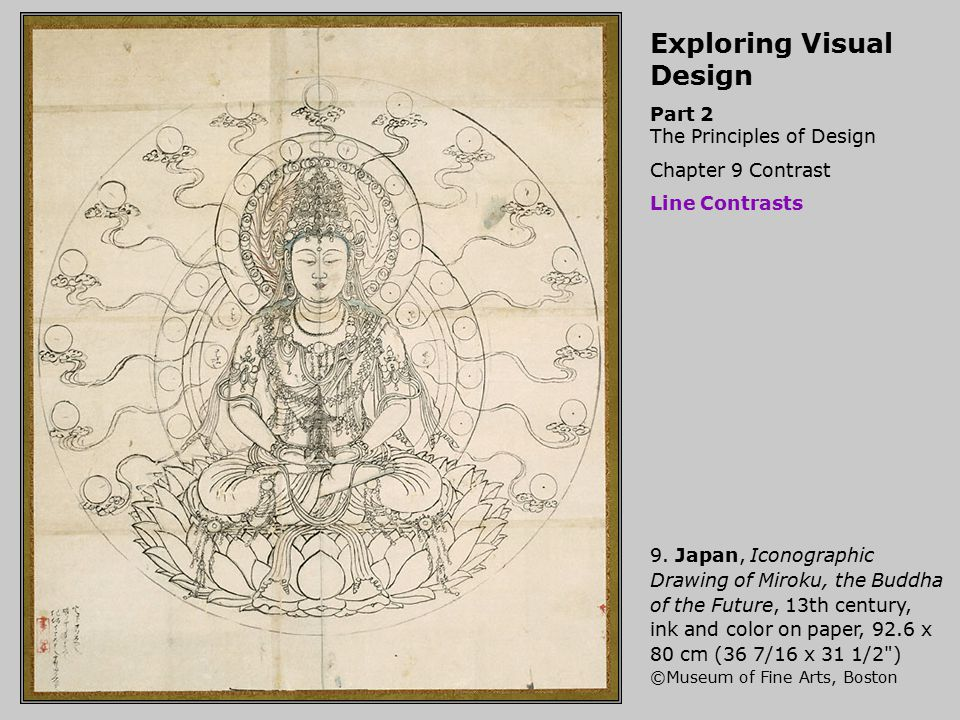 Exploring Visual Design Part 2 The Principles of Design Chapter 9 Contrast Line Contrasts 9. Japan, Iconographic Drawing of Miroku, the Buddha of the