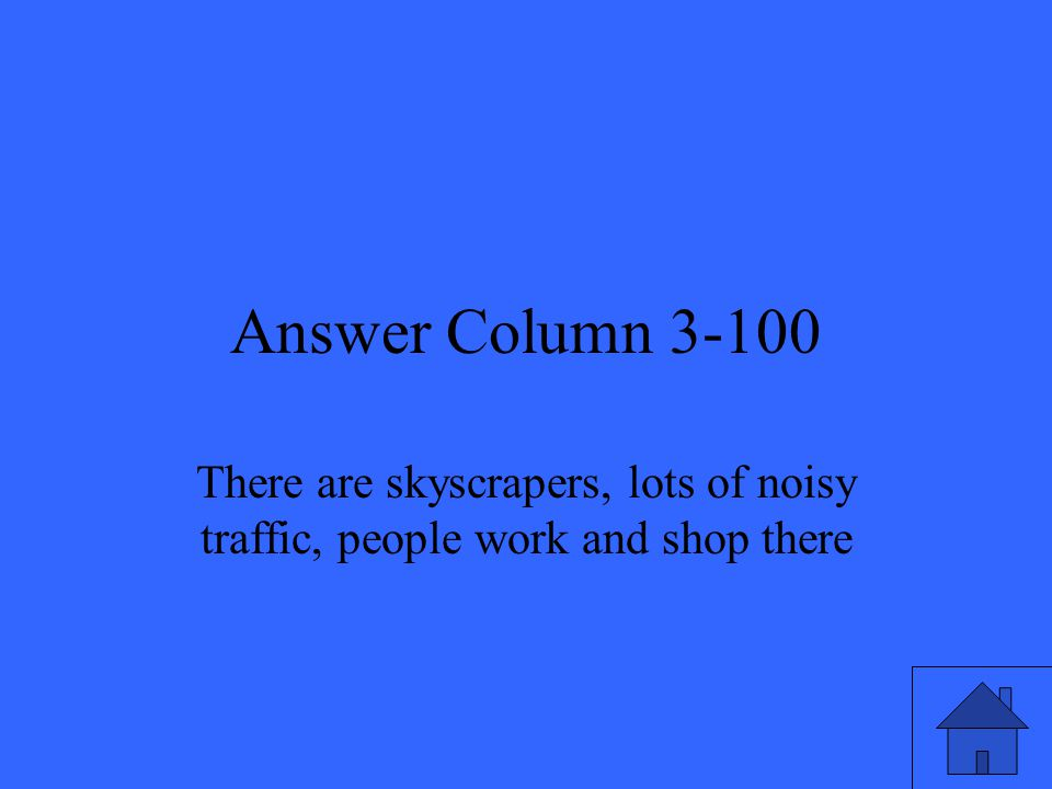 Answer Column 3-100 There are skyscrapers, lots of noisy traffic, people work and shop there