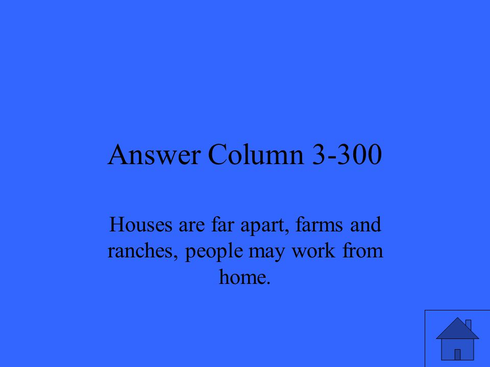 Answer Column 3-300 Houses are far apart, farms and ranches, people may work from home.