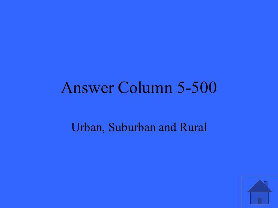 Answer Column 5-500 Urban, Suburban and Rural