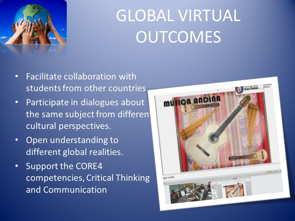 GLOBAL VIRTUAL OUTCOMES Facilitate collaboration with students from other countries.