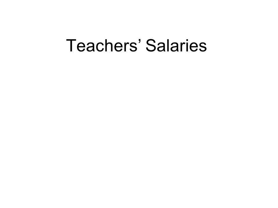 Teachers' Salaries