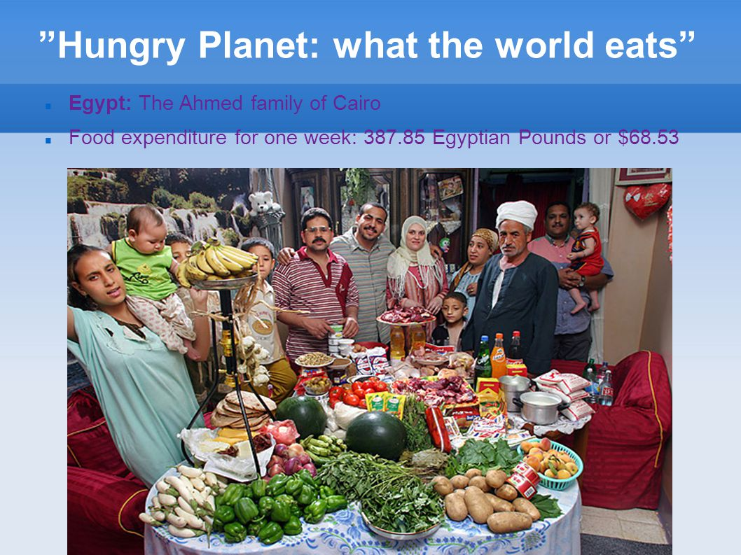 """""""Hungry Planet: what the world eats"""" Egypt: The Ahmed family of Cairo Food expenditure for one week: 387.85 Egyptian Pounds or $68.53"""