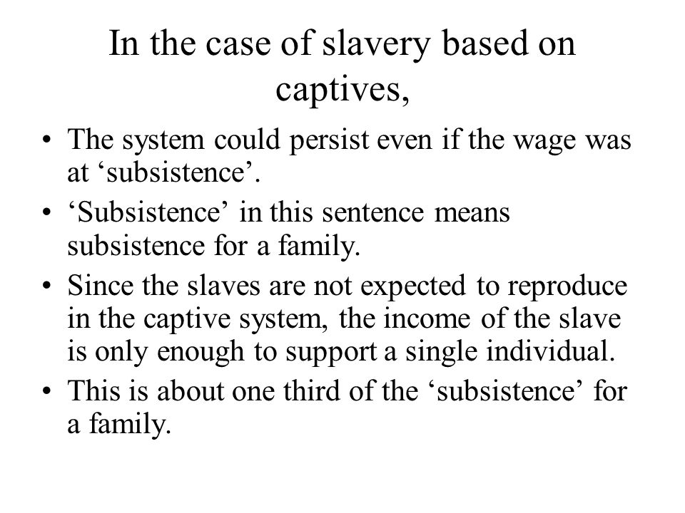 In the case of slavery based on captives, The system could persist even if the wage was at 'subsistence'. 'Subsistence' in this sentence means subsist