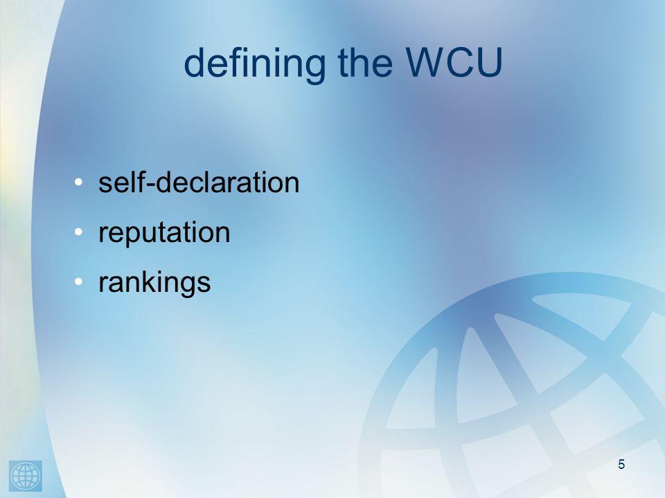 5 defining the WCU self-declaration reputation rankings