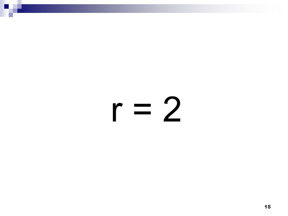 15 r = 2