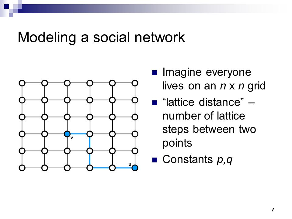 8 Modeling a social network p: range of local contacts  Nodes are connected to all other nodes within distance p.