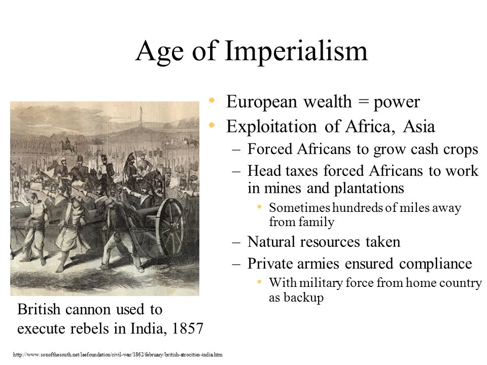 Age of Imperialism European wealth = power Exploitation of Africa, Asia –Forced Africans to grow cash crops –Head taxes forced Africans to work in mines and plantations Sometimes hundreds of miles away from family –Natural resources taken –Private armies ensured compliance With military force from home country as backup British cannon used to execute rebels in India, 1857 http://www.sonofthesouth.net/leefoundation/civil-war/1862/february/british-atrocities-india.htm
