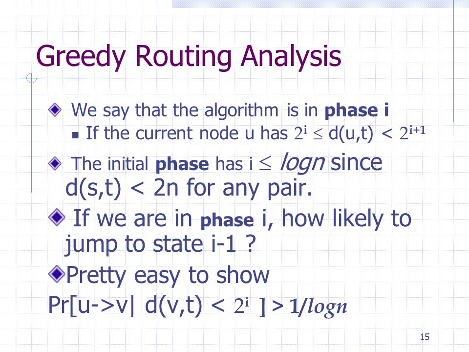 15 Greedy Routing Analysis We say that the algorithm is in phase i If the current node u has 2 i  d(u,t) < 2 i+1 The initial phase has i  logn since d(s,t) < 2n for any pair.