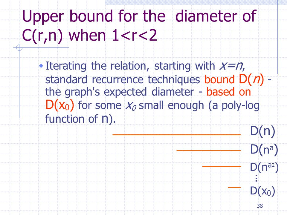 38 Upper bound for the diameter of C(r,n) when 1<r<2  Iterating the relation, starting with x=n, standard recurrence techniques bound D(n) - the graph s expected diameter - based on D(x 0 ) for some x 0 small enough (a poly-log function of n ).