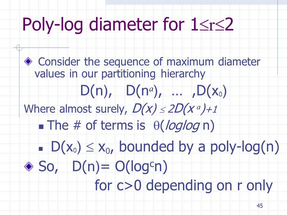45 Poly-log diameter for 1  r  2 Consider the sequence of maximum diameter values in our partitioning hierarchy D( n), D( n a ), …,D( x 0 ) Where almost surely, D( x)  2 D( x a ) +1 The # of terms is  (loglog n) D( x 0 )  x 0, bounded by a poly-log(n) So, D( n) = O(log c n) for c>0 depending on r only