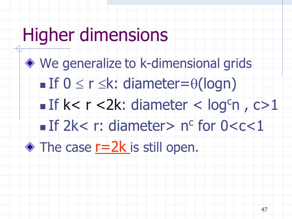 47 Higher dimensions We generalize to k-dimensional grids If 0  r  k: diameter=  (logn) If k 1 If 2k n c for 0<c<1 The case r=2k is still open.