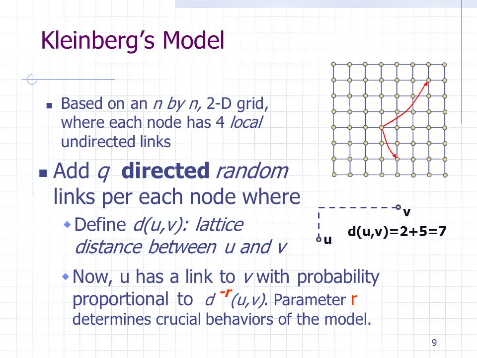 9 Kleinberg's Model Based on an n by n, 2-D grid, where each node has 4 local undirected links Add q directed random links per each node where  Define d(u,v): lattice distance between u and v u v d(u,v)=2+5=7  Now, u has a link to v with probability proportional to d -r (u,v).