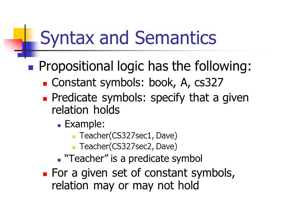 Syntax and Semantics Function Symbols FatherOf(Luke) = DarthVader Variables Refer to other symbols x, y, a, b, etc.