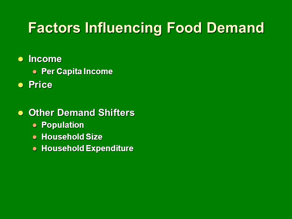 Factors Influencing Food Demand Income Income Per Capita Income Per Capita Income Price Price Other Demand Shifters Other Demand Shifters Population Population Household Size Household Size Household Expenditure Household Expenditure