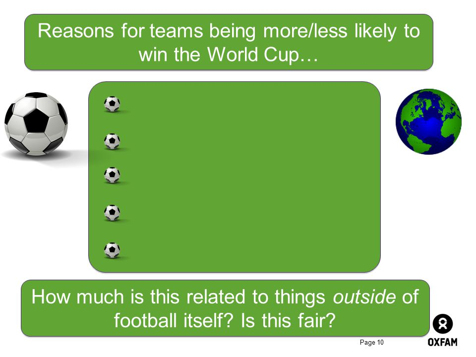 Page 10 Reasons for teams being more/less likely to win the World Cup… How much is this related to things outside of football itself? Is this fair?