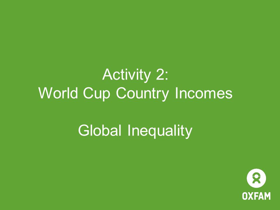 Activity 2: World Cup Country Incomes Global Inequality