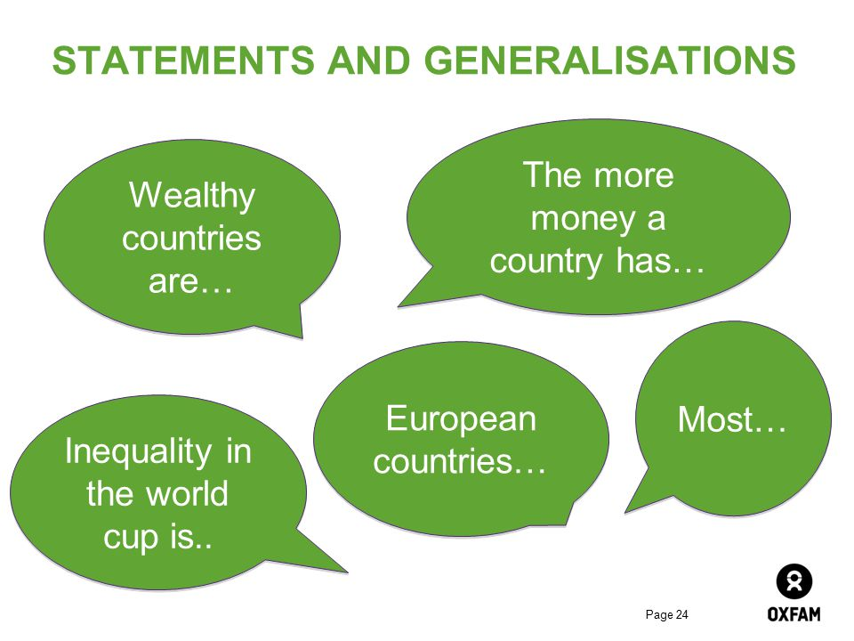 Page 24 STATEMENTS AND GENERALISATIONS The more money a country has… Wealthy countries are… Inequality in the world cup is.. Most… European countries…