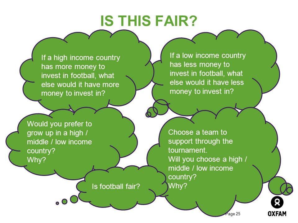 Page 25 IS THIS FAIR? If a low income country has less money to invest in football, what else would it have less money to invest in? If a high income