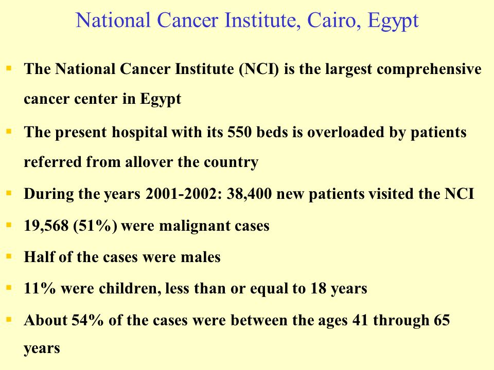 National Cancer Institute, Cairo, Egypt  The National Cancer Institute (NCI) is the largest comprehensive cancer center in Egypt  The present hospit