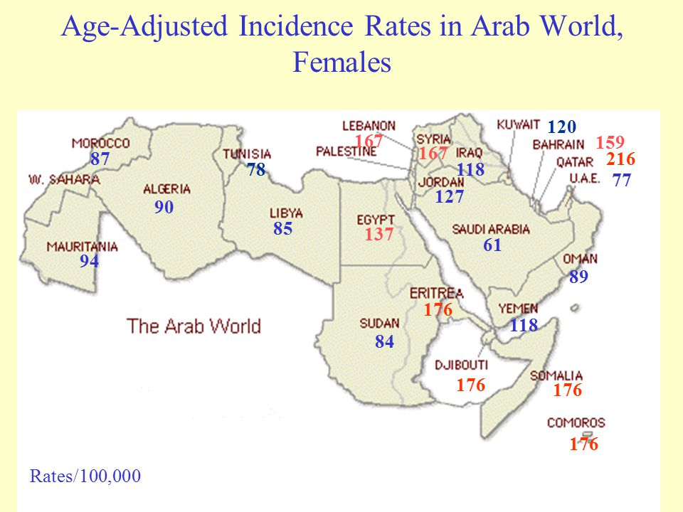 Age-Adjusted Incidence Rates in Arab World, Females 87 90 78 85 137 84 167 118 127 61 216 159 120 77 89 118 176 94 Rates/100,000