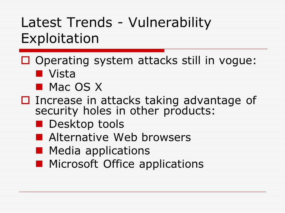 Latest Trends - Vulnerability Exploitation  Operating system attacks still in vogue: Vista Mac OS X  Increase in attacks taking advantage of security holes in other products: Desktop tools Alternative Web browsers Media applications Microsoft Office applications