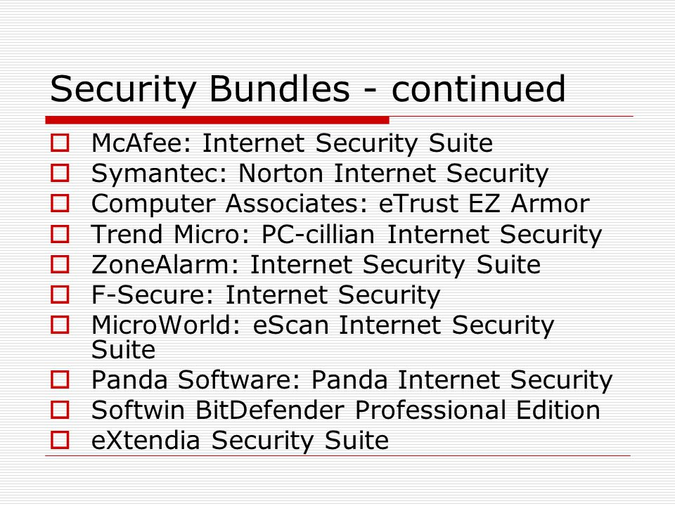Security Bundles - continued  McAfee: Internet Security Suite  Symantec: Norton Internet Security  Computer Associates: eTrust EZ Armor  Trend Micro: PC-cillian Internet Security  ZoneAlarm: Internet Security Suite  F-Secure: Internet Security  MicroWorld: eScan Internet Security Suite  Panda Software: Panda Internet Security  Softwin BitDefender Professional Edition  eXtendia Security Suite