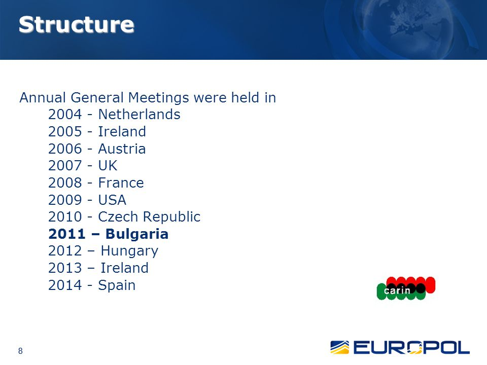 8 8 8 Structure Annual General Meetings were held in 2004 - Netherlands 2005 - Ireland 2006 - Austria 2007 - UK 2008 - France 2009 - USA 2010 - Czech
