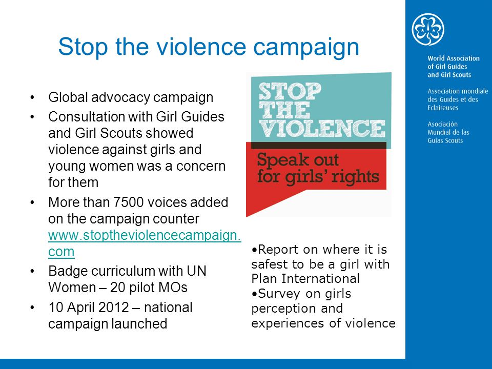 Stop the violence campaign Global advocacy campaign Consultation with Girl Guides and Girl Scouts showed violence against girls and young women was a concern for them More than 7500 voices added on the campaign counter www.stoptheviolencecampaign.