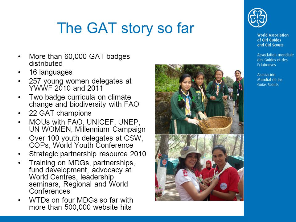 The GAT story so far More than 60,000 GAT badges distributed 16 languages 257 young women delegates at YWWF 2010 and 2011 Two badge curricula on climate change and biodiversity with FAO 22 GAT champions MOUs with FAO, UNICEF, UNEP, UN WOMEN, Millennium Campaign Over 100 youth delegates at CSW, COPs, World Youth Conference Strategic partnership resource 2010 Training on MDGs, partnerships, fund development, advocacy at World Centres, leadership seminars, Regional and World Conferences WTDs on four MDGs so far with more than 500,000 website hits
