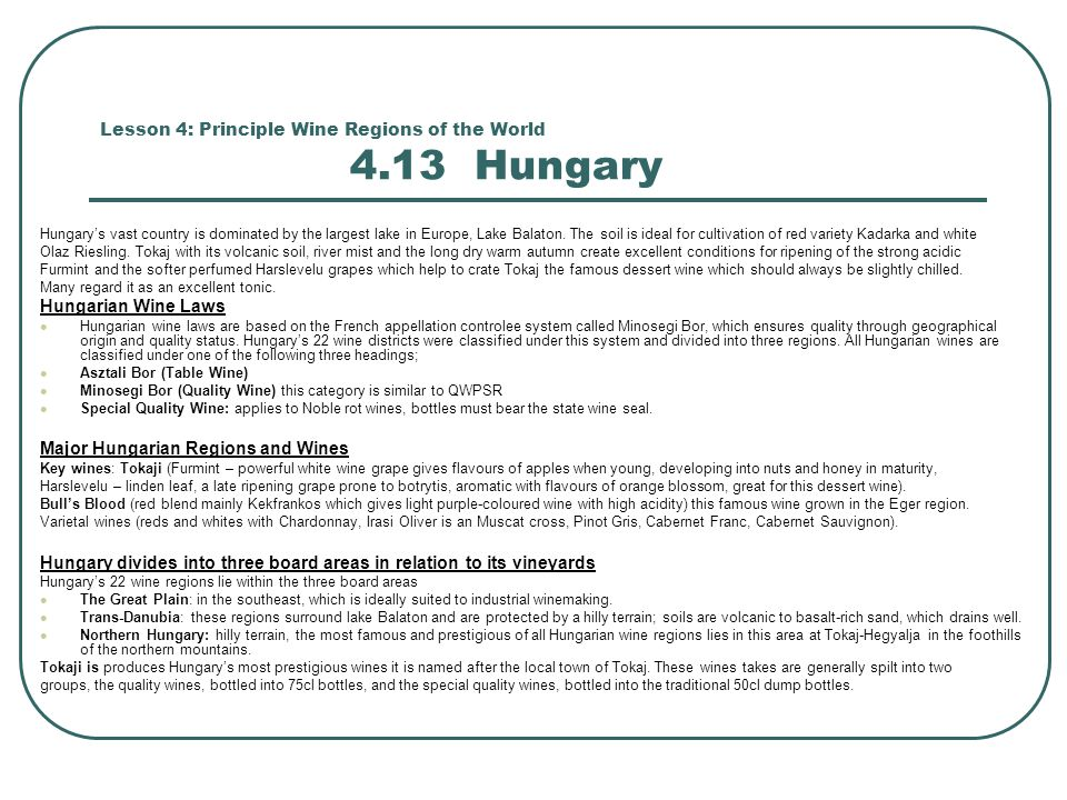 Lesson 4: Principle Wine Regions of the World 4.13 Hungary Hungary's vast country is dominated by the largest lake in Europe, Lake Balaton.
