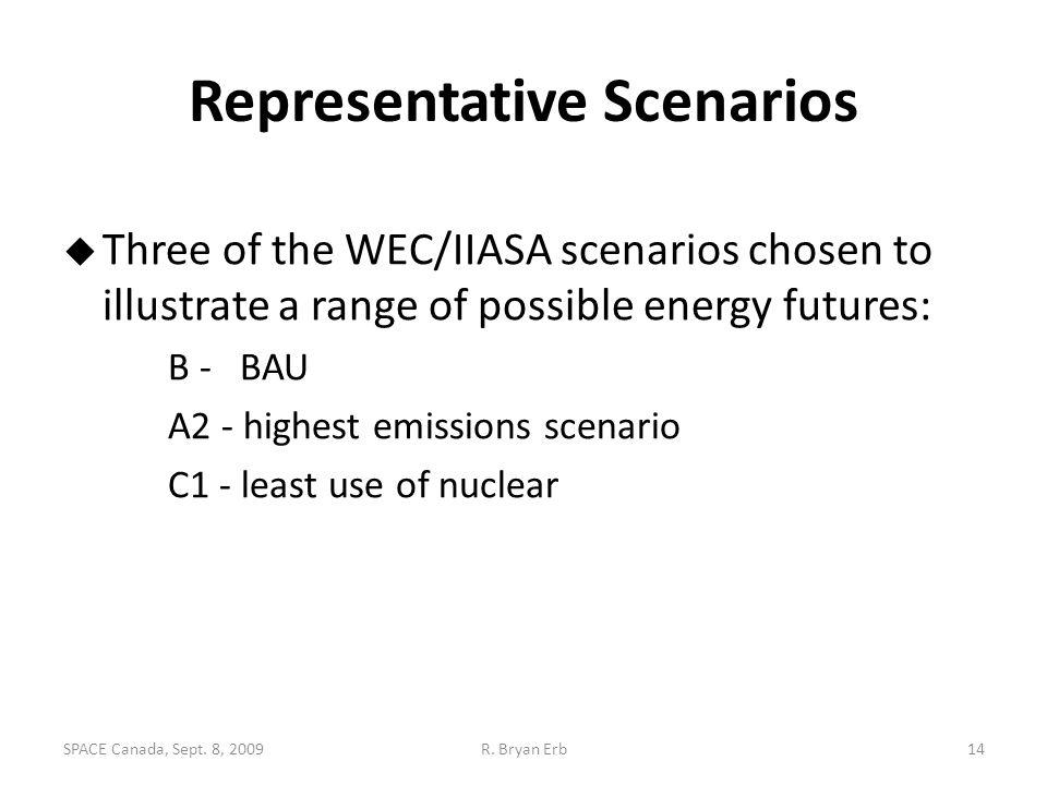 Representative Scenarios  Three of the WEC/IIASA scenarios chosen to illustrate a range of possible energy futures: B - BAU A2 - highest emissions sc