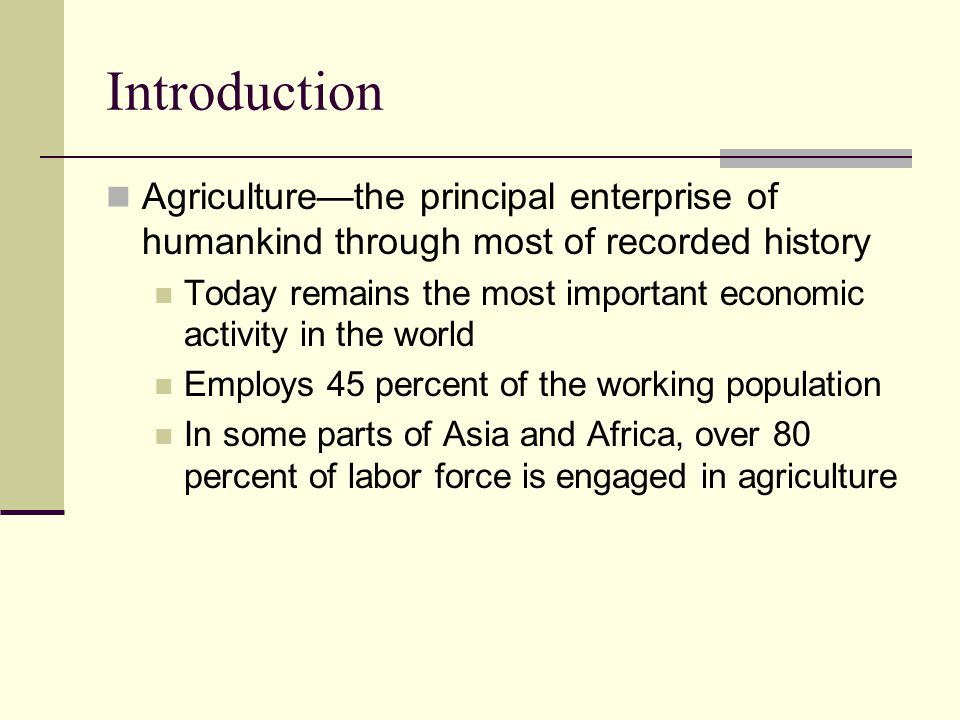 Agricultural diffusion Farmers of the Fertile Crescent deserve credit for the first great animal domestications—notably the herd animals Wild ancestors of cattle, pigs, sheep, and goats Most herd animals lived in a belt from Syria and southeastern Turkey across Iraq and Iran to central Asia In this region or nearby, farmers first combined domesticated plants and animals People began using cattle to pull the plow, increasing cultivated acreage Out of necessity, a portion of the harvest was put aside as livestock feed