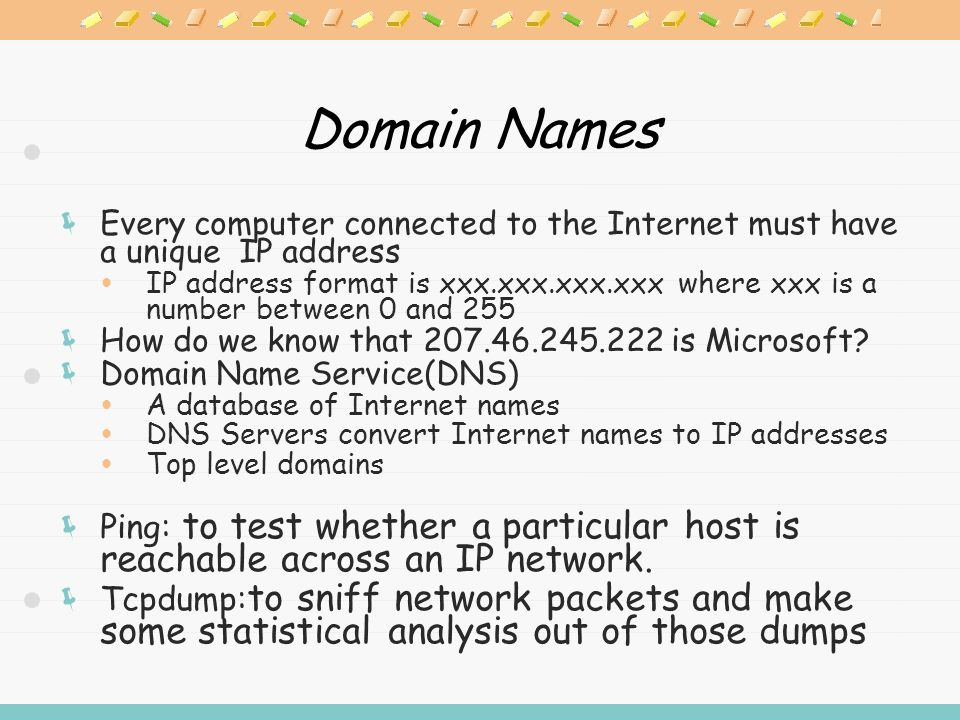Domain Names  Every computer connected to the Internet must have a unique IP address  IP address format is xxx.xxx.xxx.xxx where xxx is a number between 0 and 255  How do we know that 207.46.245.222 is Microsoft.