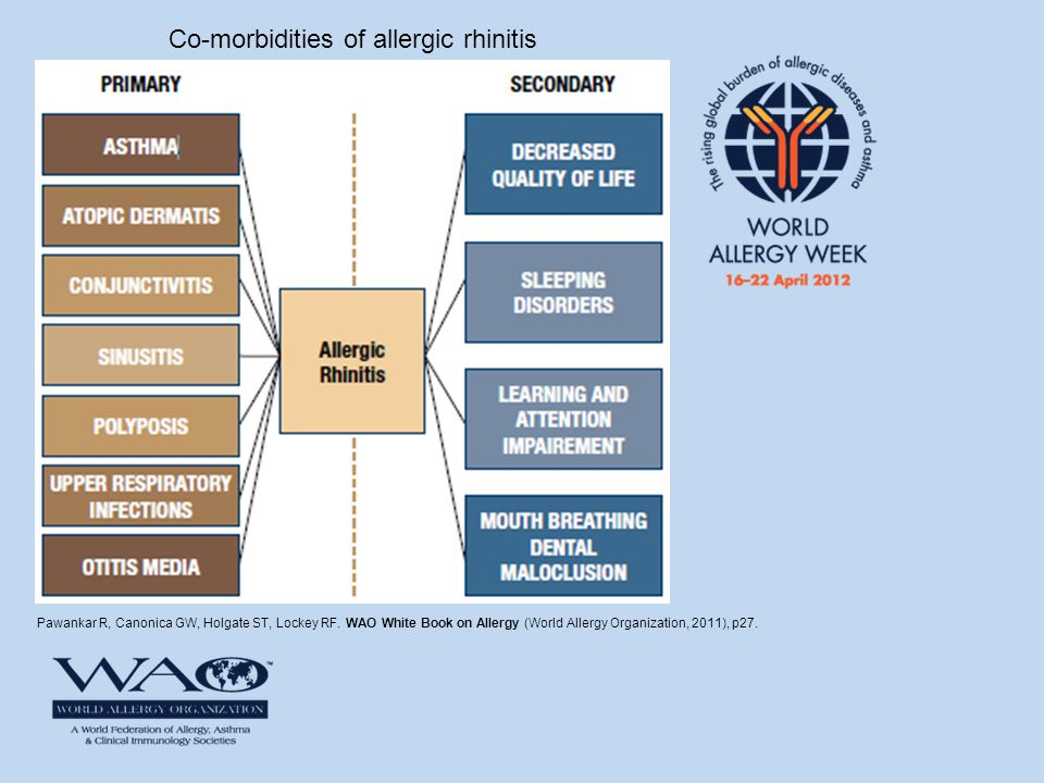 Pawankar R, Canonica GW, Holgate ST, Lockey RF. WAO White Book on Allergy (World Allergy Organization, 2011), p27. Co-morbidities of allergic rhinitis