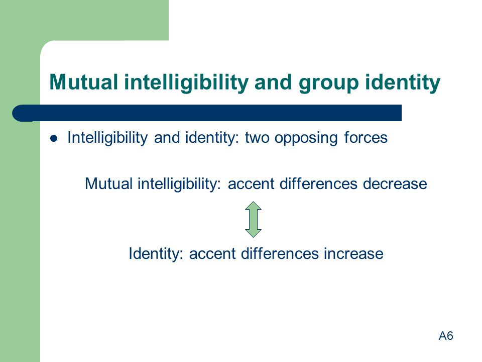 Mutual intelligibility and group identity Intelligibility and identity: two opposing forces Mutual intelligibility: accent differences decrease Identi